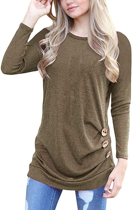 Oritina Womens Casual Long Sleeve Round Neck Basic Shirt Tops with Button Tunic