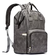 HaloVa Diaper Bag, Baby Nappy Backpack, Soft Leather Shoulders Backpack, Unisex Mother Maternity Dad Travel Bag, Large Capacity, Gray