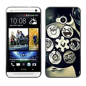 TECHCASE**Cubierta de la caja de protección la piel dura para el ** HTC One M7 ** Technology Mechanism Art Smiley Funny