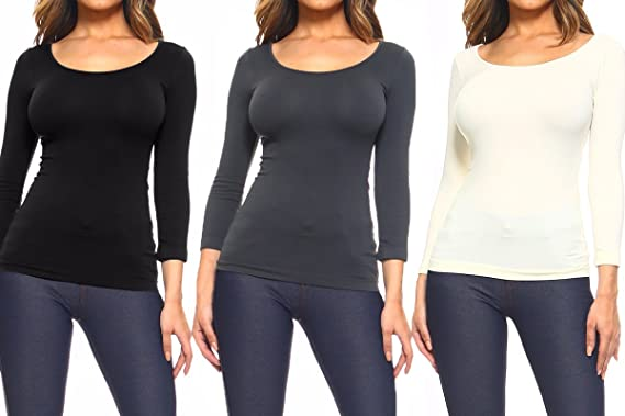 81776d6c20b Women's Long Sleeve Seamless Scoop Neck Undershirt Layering Top  (Black/Charcoal/Ivory;