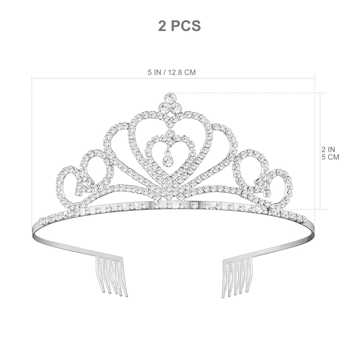 Rhinestone Crystal Tiara Crown, 2 Pack Wedding Bridal Prom Birthday Pageant Princess Tiara Headband