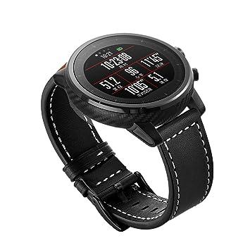 Aimtel For Huami Amazfit Stratos Correa de Piel de Repuesto Ajustable DE 22 mm para huami Amazfit Stratos Fitness Watch, Color AS-Black
