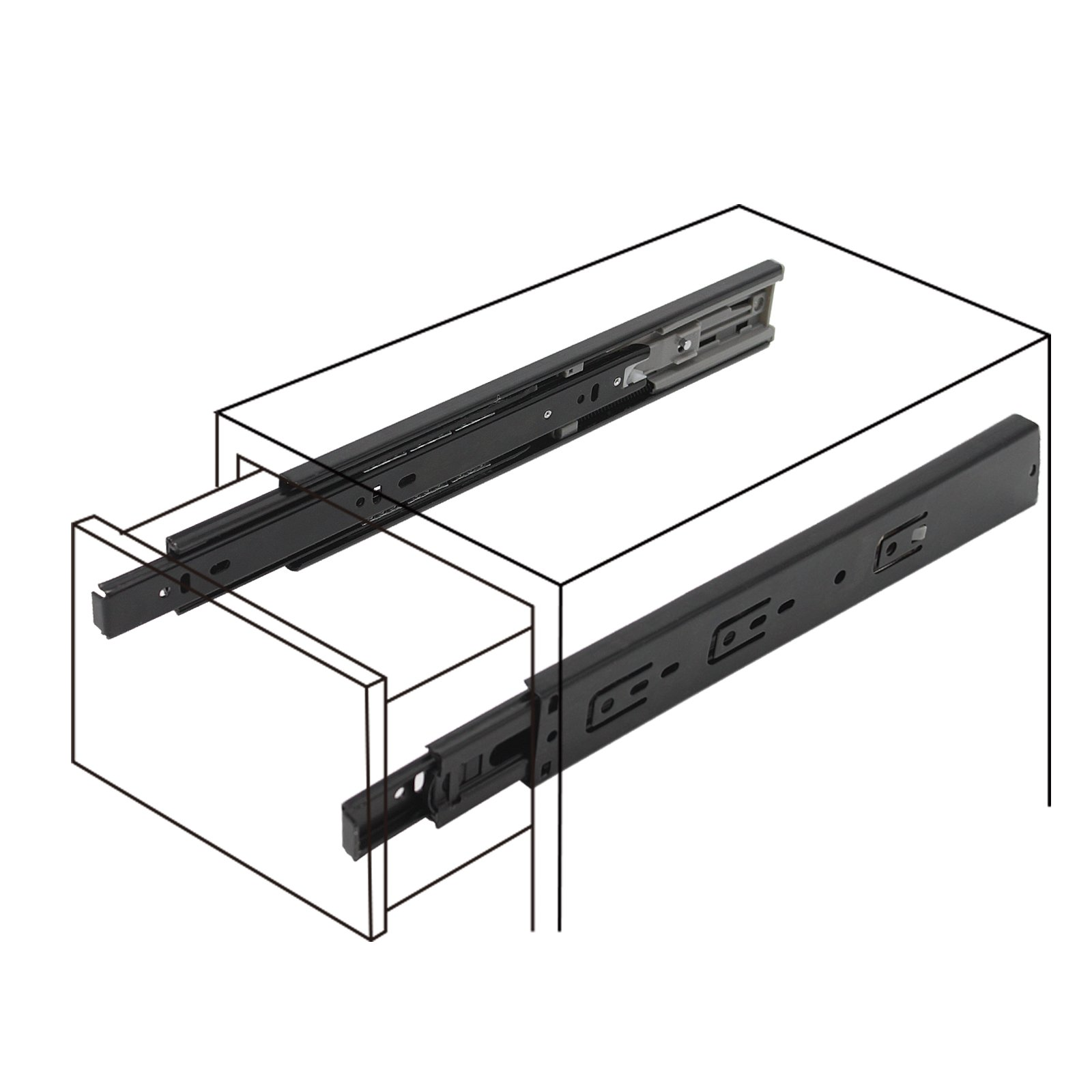 Probrico 10 Pair of 12 Inch Hardware Ball Bearing Side Mount Drawer Slides, Full Extension, Available in 12'',14'',16'',18'',20'',22'', 24'' Lengths by Probrico (Image #6)