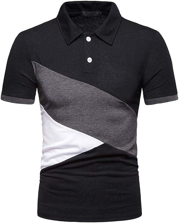 Camisas de Polo Casual para Hombre Camisetas de Manga Corta Remiendo Polos Polos Camisas de Cuello Redondo Abajo: Amazon.es: Ropa y accesorios