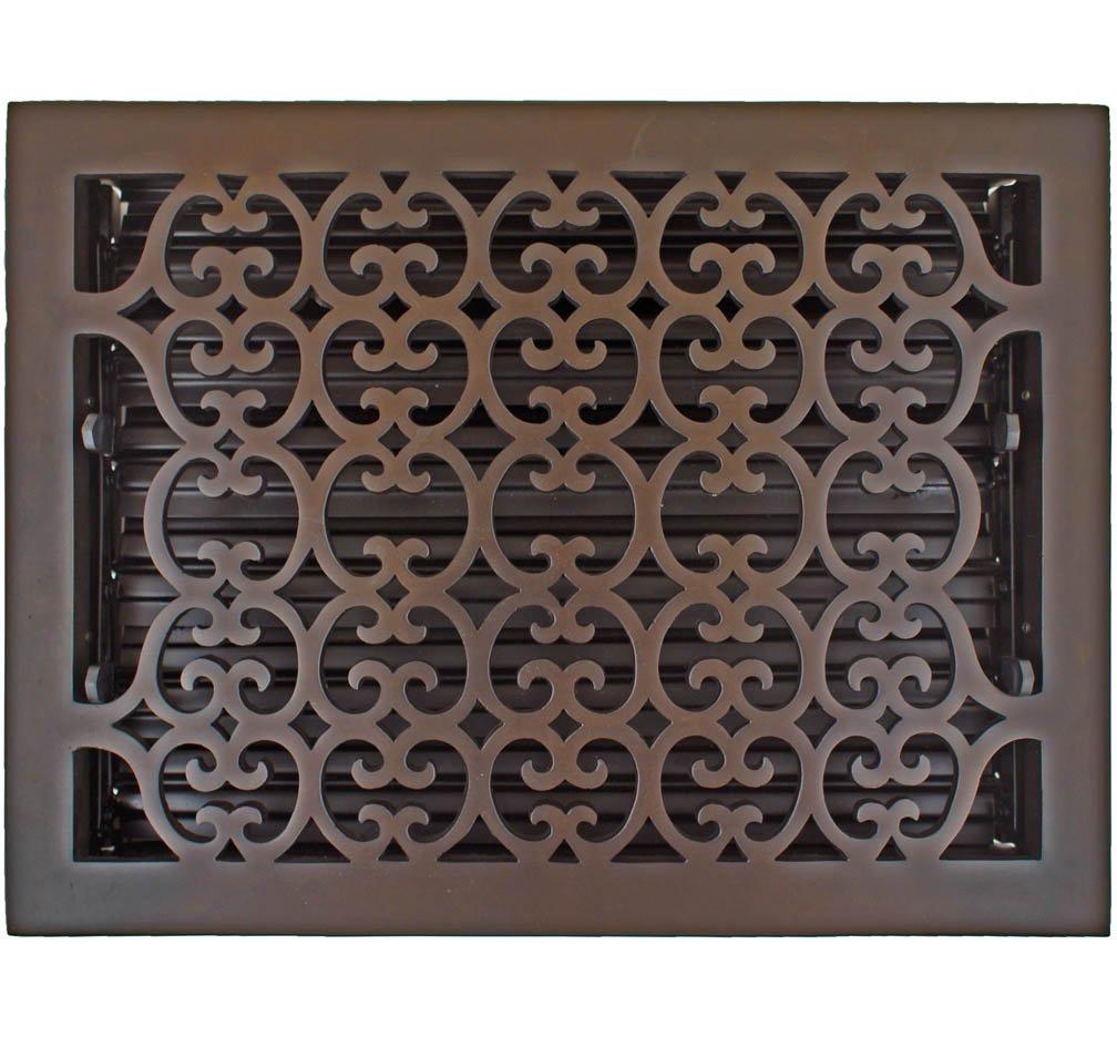 Hamilton Sinkler HVT-1014-BP Hamilton Sinkler Scroll Floor Vent with Damper, 10 by 14-Inch, Bronze Patina