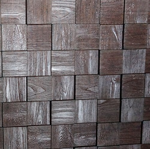 Decorative Brick Panels (Harmony Cubes PVC Thermoplastic 3D Wall Panels - Decorative Luxury Interior Design Wall Paneling Decor Commercial And Residential Application 2' x 2', 4 sq ft (Wood Walnut))