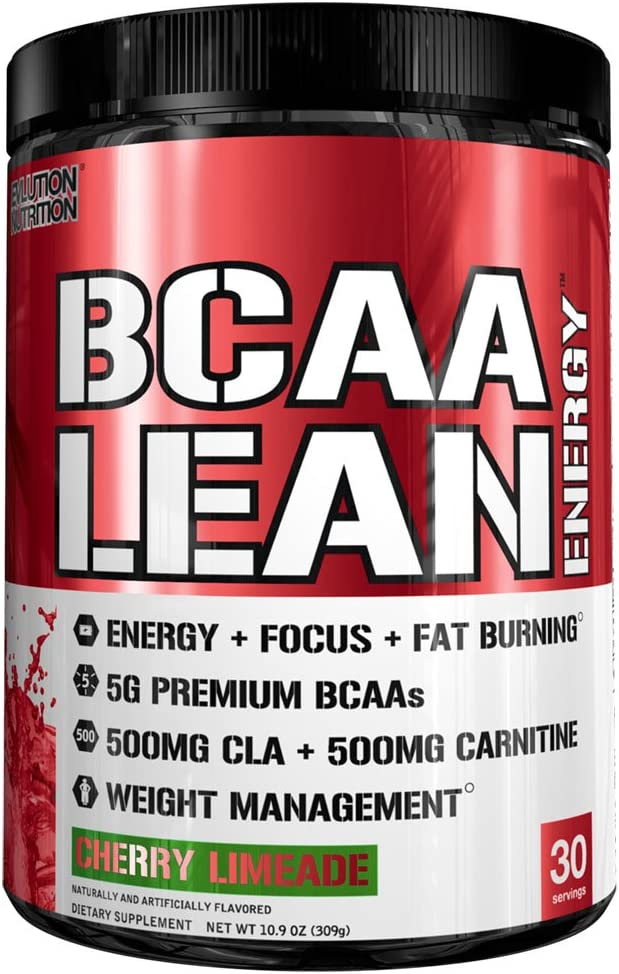 Evlution Nutrition BCAA Lean Energy – Energizing Amino Acid for Muscle Building Recovery and Endurance, with a Fat Burning Formula, 30 Servings Cherry Limeade