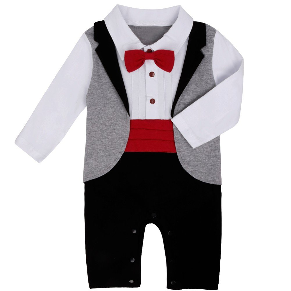 Amazon.com: FEESHOW Baby Boys Gentleman Romper Wedding Formal Tuxedo Suit Bow Tie Outfit: Clothing