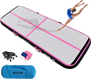 ALIFUN Air Inflatable Exercise Inflatable Gymnastics Tumble Mat 10ft 13ft 16ft 20ft 23ft 26ft Air Yoga Mat for Outdoor Training Cheerleading
