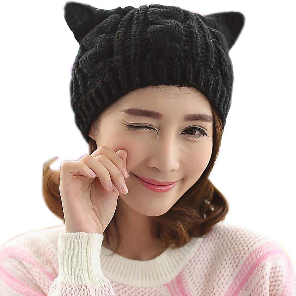 TININNA Inverno Caldo carina lavorato a maglia knit orecchie di gatto uncinetto Berretto beanie Cappello con orecchio per le donne ragazze Beige