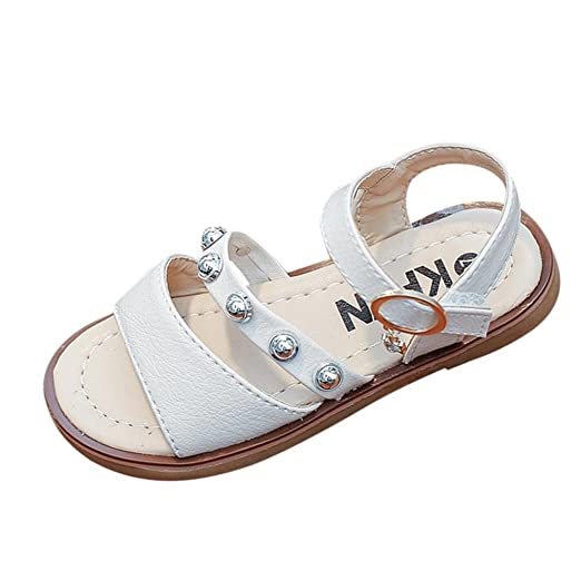 3b42a5714b59 LNGRY Toddler Kids Baby Girls Summer Fashion Rivet Decor Soft Sole Casual  Sandals Flat Shoes (