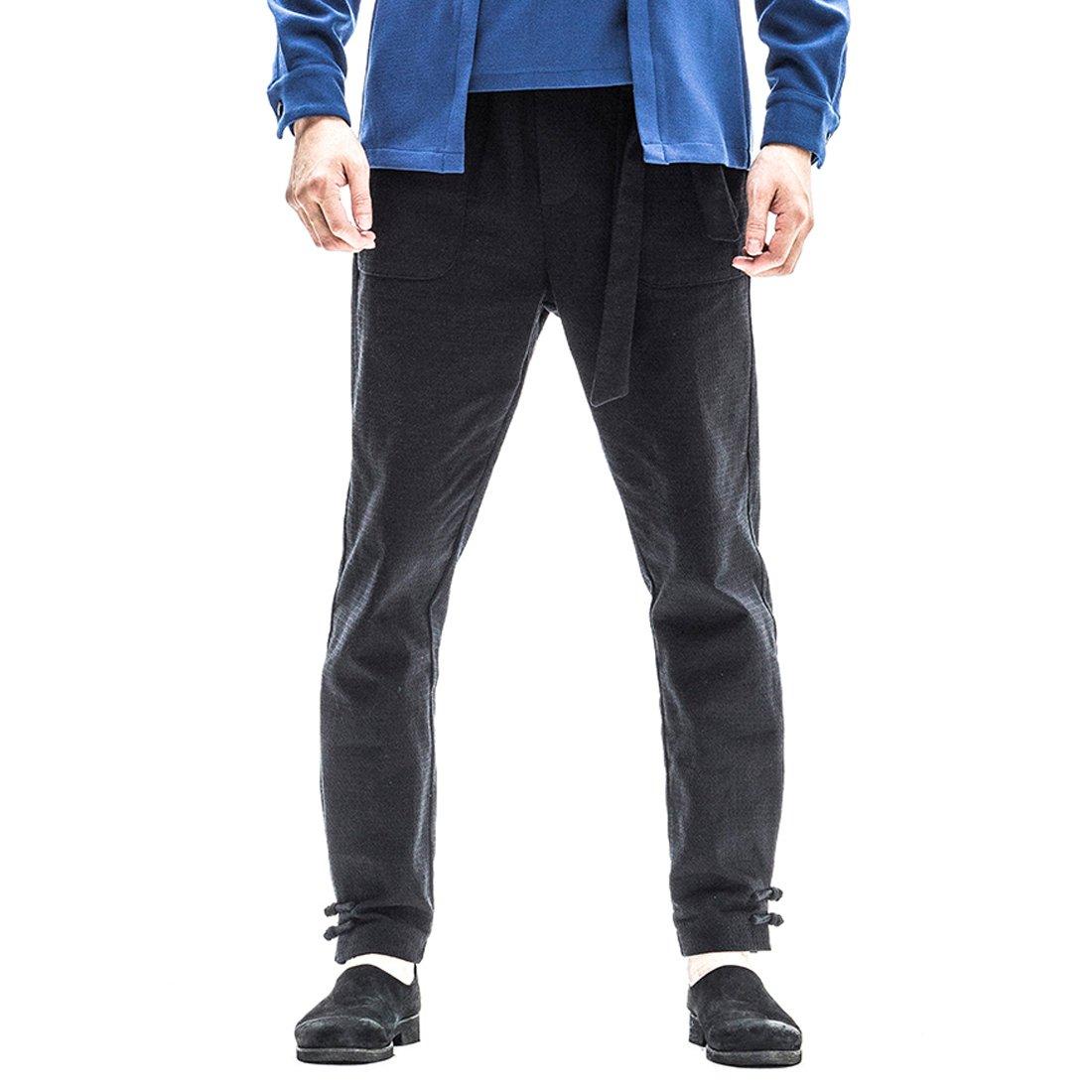 Kung Fu Smith Vintage Tai Chi Casual Cotton Pocket Frog Button Trouser Pants, Black XL