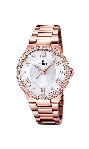 5d009d1c1034 Festina Reloj Analógico para Mujer de Cuarzo con Correa en Acero Inoxidable  F16721 1  Amazon.es  Relojes