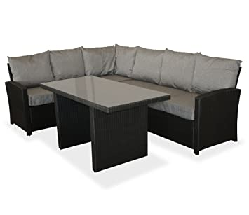 Amazon De Kmh Grosse Schwarze Gartensitzgruppe Lounge Esstisch