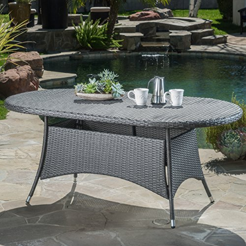 (Christopher Knight Home Colonial Grey Wicker Outdoor Oval Dining Table)