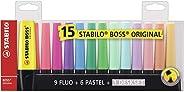Marca Texto, Stabilo, Boss, 58.0900, Pacote de 15, Multicor Fluo/Pastel