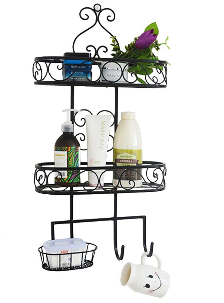 Dazone 3 Tiers Wall Mounted Bathroom Rack Metal Bathroom Storage Rack Shelf Organizer with Hooks (Black)