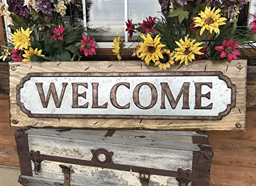 WELCOME SIGN for Home *Rustic Metal Tin Welcome on Distressed Wood *Antique Red White or River Rock Blue Gray *41