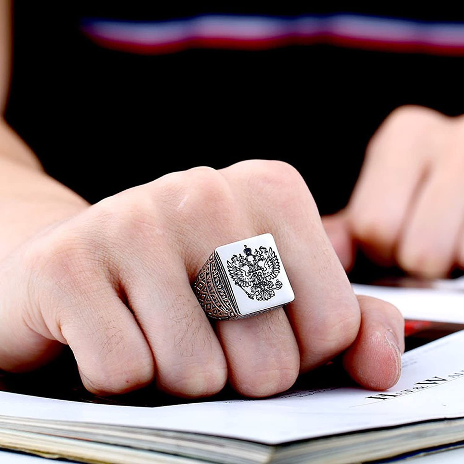 Russian Impirial Double Head Eagle Ring Solid Silver Stainless Mens ...