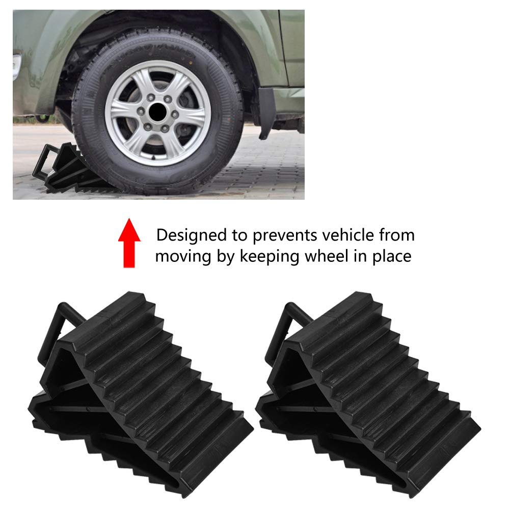 Qiilu Wheel Chock Solid Rubber Heavy DutyAnti-Slip Block Tyre Slip Stopper Wheel Block Tire Support Pad
