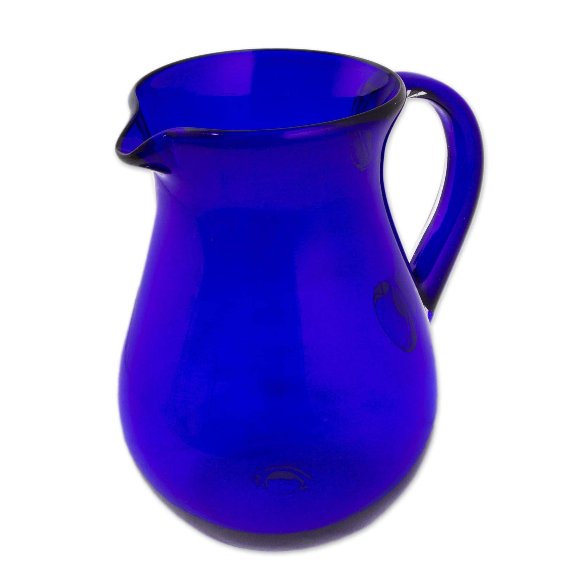 NOVICA Large Blue Hand Blown Glass Pitcher for Water, Margaritas, Lemonade, 82 oz, 'Cobalt Charm' by NOVICA (Image #3)