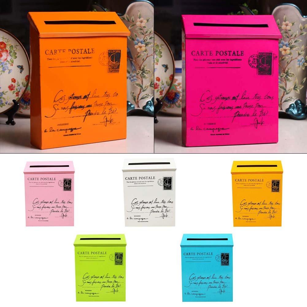 Junda Decorative Mailbox Letter Post Box, Countryside Retro & Wall Mounted, Iron Made and Waterproof, Multicolored by Junda (Image #2)