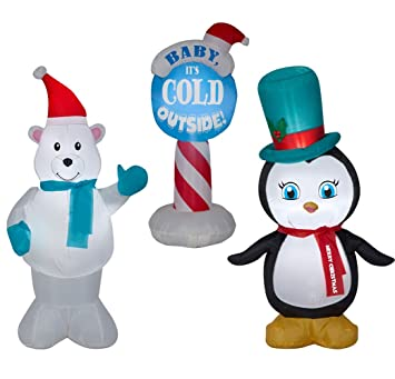 inflatable outdoor christmas decorations set of 3 christmas inflatables includes penguin polar bear and