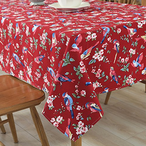 Tina Cotton Vintage Bird Floral Print Tablecloth Table Cover Machine Wasable for Kitchen Dining Living Room Red, 52x70