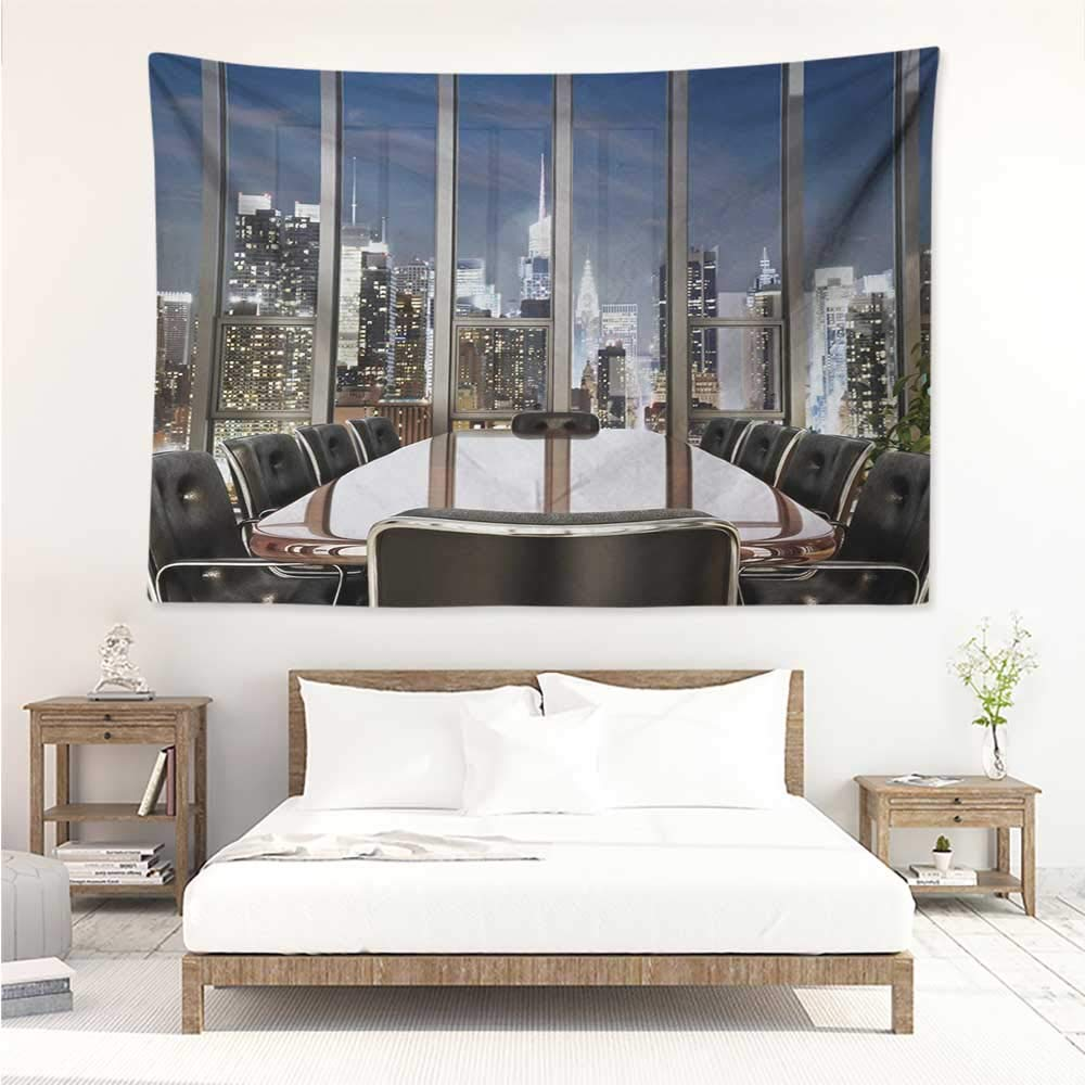 Modern,Wall Hanging Business Office Conference Room Table Chairs City View at Dusk Realistic Photo 91W x 60L Inch Bed Sheet Picnic Tapestry Grey Black Blue