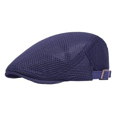 0204e921cf5 Boomly Unisex Breathable Mesh Berets Adjustable Ivy Cap Newsboy Beret Hats  Cabbie Flat Cap Solid Color