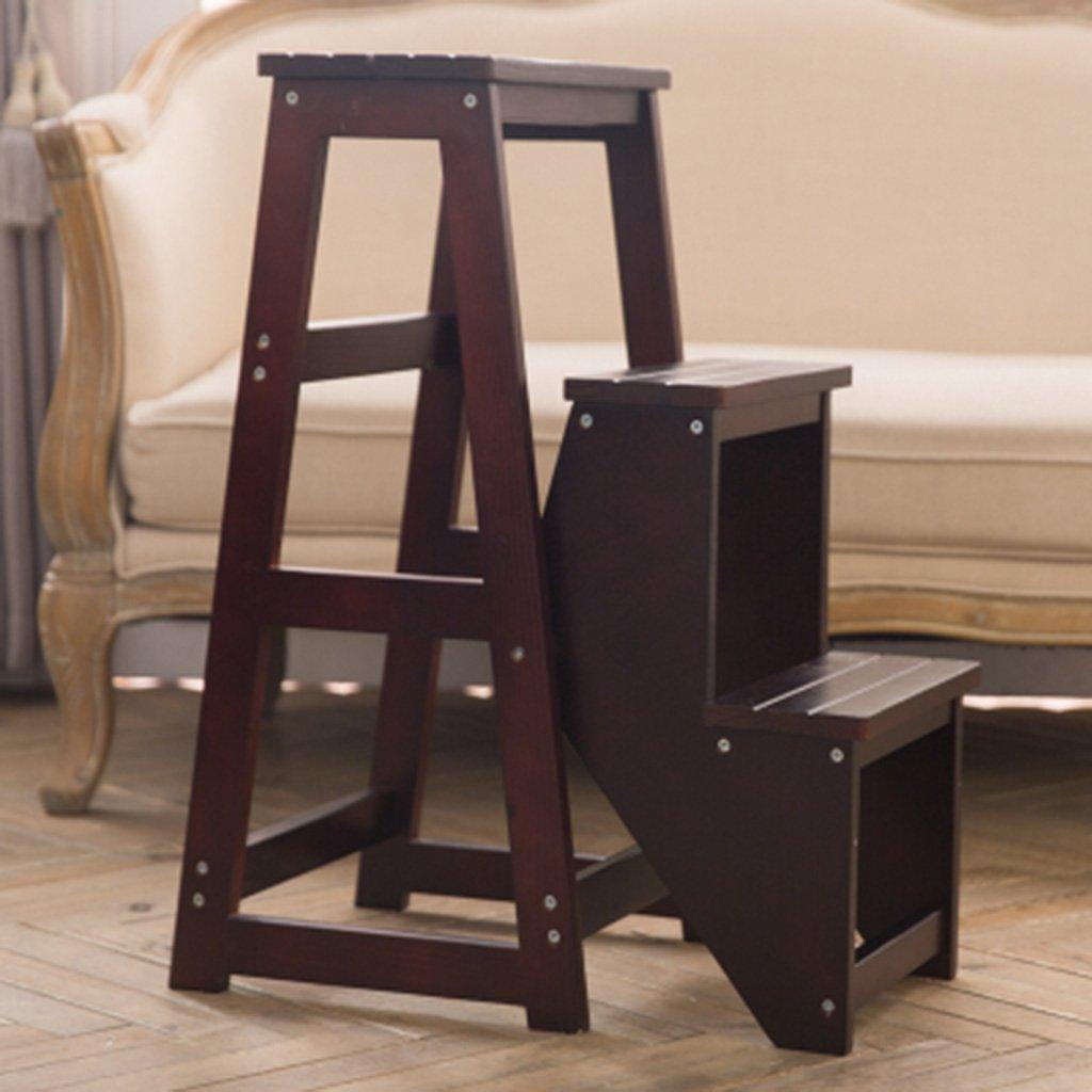 GAIXIA-Ladder Sgabello Scaletta Pieghevole in Legno massello Dual-Purpose Scala a 3 Livelli scaletta scaletta scaletta per Uso Domestico scaletta Multistrato scaletta (colore   Dark Walnut)
