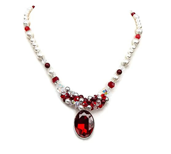 Amazon red crystal statement necklace with swarovski oval fancy red crystal statement necklace with swarovski oval fancy stone pendant aloadofball Image collections