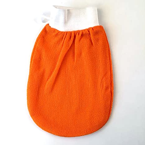 Ouken Exfoliante de Baño Frotar Guante Doble Cara Cuerpo Exfoliante Ducha Toalla, Naranja