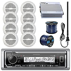 "Kenwood KMRM322BT Marine Boat Radio Stereo Receiver Bundle Combo With 8x Magnadyne WR45W 5"" White Waterproof Speakers, 400-Watt Car/Marine Amplifier, Enrock Radio Antenna, 50ft 16g Speaker Wire"