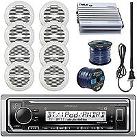 Kenwood KMRM315BT Marine Boat Radio Stereo Receiver Bundle Combo With 8x Magnadyne WR45W 5 White Waterproof Speakers + 400-Watt Car/Marine Amplifier + Enrock Radio Antenna + 50Ft 16g Speaker Wire