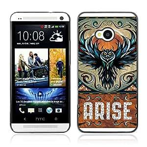 A-type Arte & diseño plástico duro Fundas Cover Cubre Hard Case Cover para HTC One (M7) ( Búho impresionante Levántate Arte )