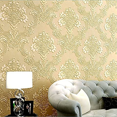 HaokHome 1011 Luxury Damask Flocking Textured Wallpaper Roll Cream/Yellow Modern Home Room Decoration 20.8
