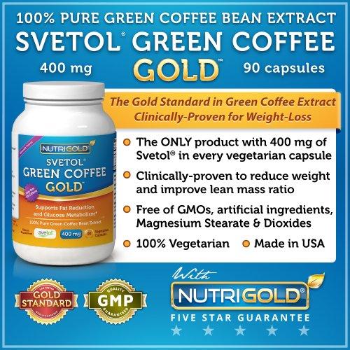 Svetol vert Coffee Bean Extract, 90 capsules végétariennes (le produit uniquement avec COMPLET 400 mg de Svetol cliniquement prouvée par Capsule - L'or pur extrait standard éprouvée dans 8 études de recherche) Take 2 pour 800 mg