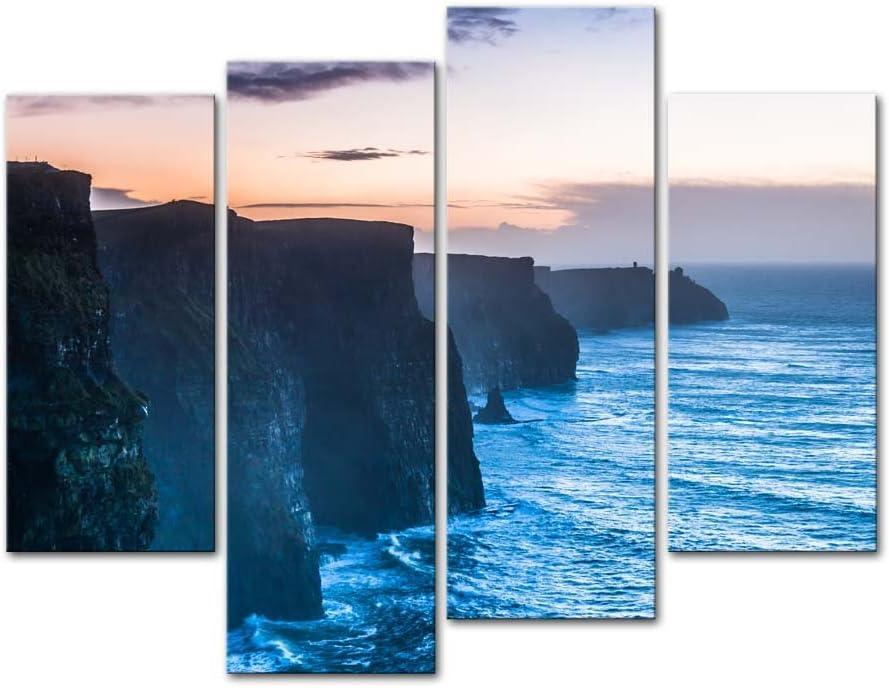 Simple Blue Seascape CANVAS WALL ARTWORK Four Panel Art
