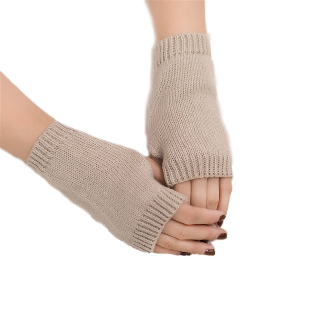 Colorido Women Winter Candy Color Half-finger Mitten Warm Keeper Gloves size Regular (Dark Beige)