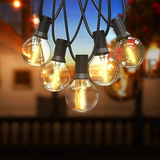 Guirnaldas luminosas de exterior Vistoso Bomcosy G40 RGBW Cadena de Luces 30m con 50+1 led Bombilla Guirnalda Luces IP45 Impermeable Luces Exterior de patio,Garden Terrace Luces de patio de Navidad