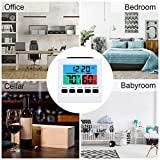 T&F Humidity Meter Desk Digital Clock Bedroom Clock with Temperature Weather Cute for Living Room