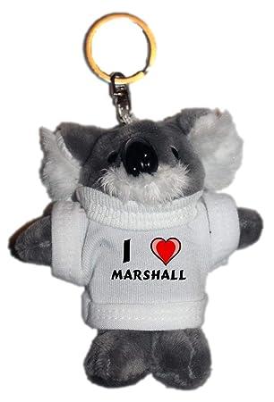 Amazon.com: café gato de peluche llavero con I Love Marshall ...