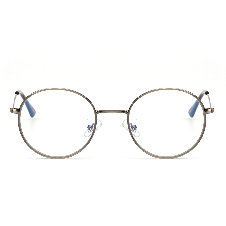 e650616d7 Amazon.com: Retro Round Computer Reading Glasses Metal Circle Frame Gaming  Eyeglasses Anti Blue Light Lens for Digital Screens UV400 Protection ...
