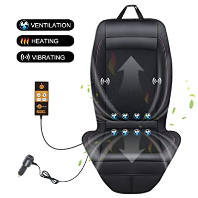 SEG Direct 3-in-1 Car Smart Seat Cushion, Ventilation for Summer, Heating for Winter, Vibrating for Driving, with 12V Output Voltage Adapter with 5 Adjustable Levels of Ventilation and Heating: Home & Kitchen