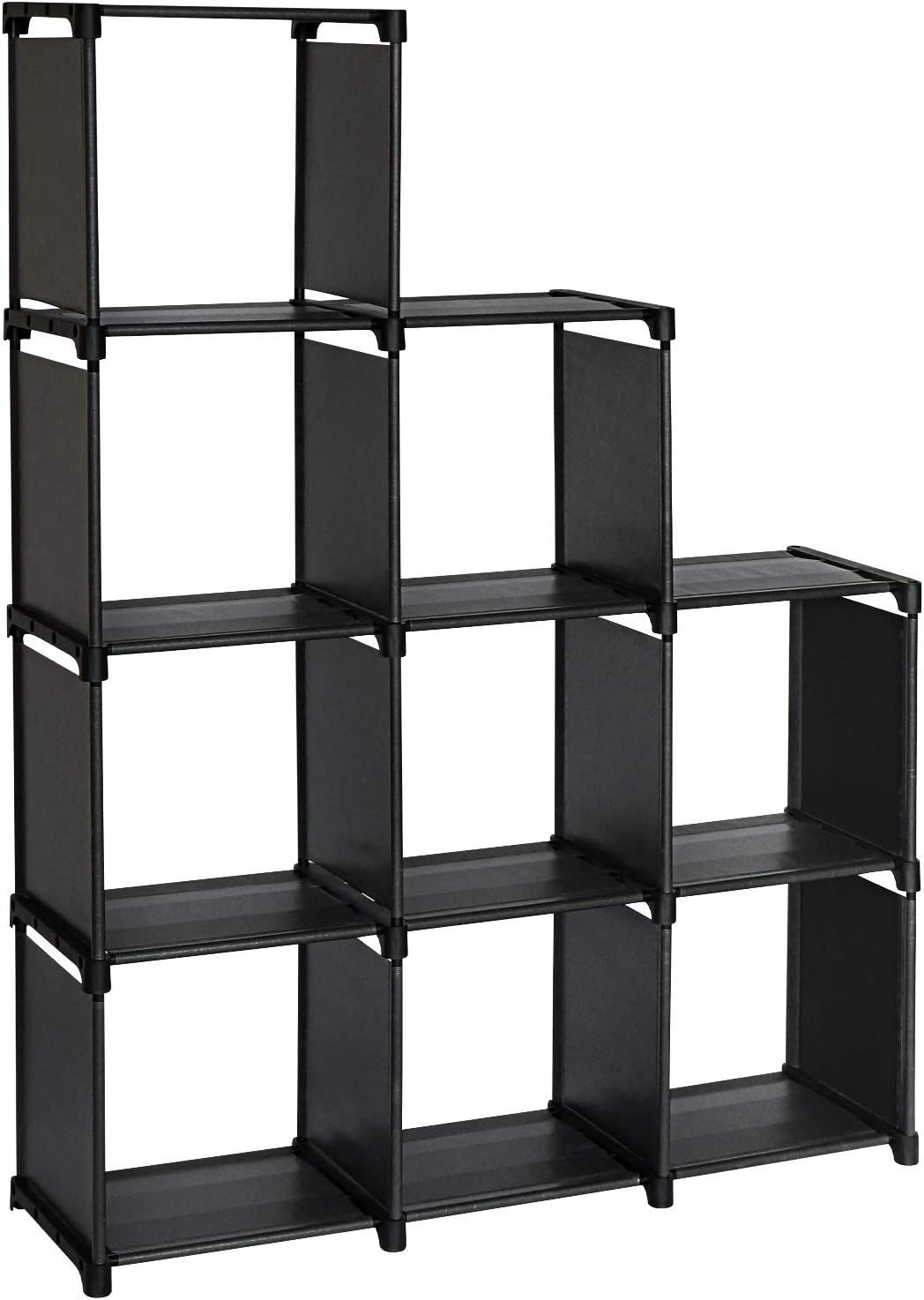 TOPNEW 9 Cube Storage Shelves DIY Closet Organizers and Storage Black Cube Bookcase in Living Room, Bedroom, Kid's Room for Books, Clothes, Toys, Shoes and Daily Necessities
