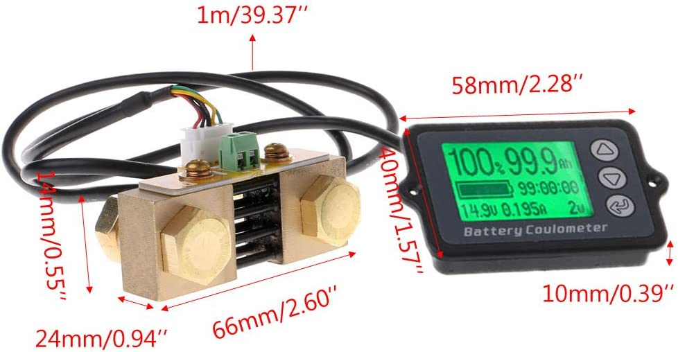 Yuanmaoao 80V 350A TK15 High Precision Battery Tester compatible for LiFePO Coulomb Counter LCD Display