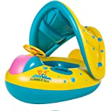 TOAOB Baby Swimming Pool Floats Boat with Inflatable Sunshade Canopy for Kids 6-36 Months