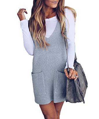 9ecdf5ca1ec HZSONNE Womens  Ribbed Deep V Neck Side Pocket Lightweight Sleeveless Shift  Dress Tank Vest Sweater