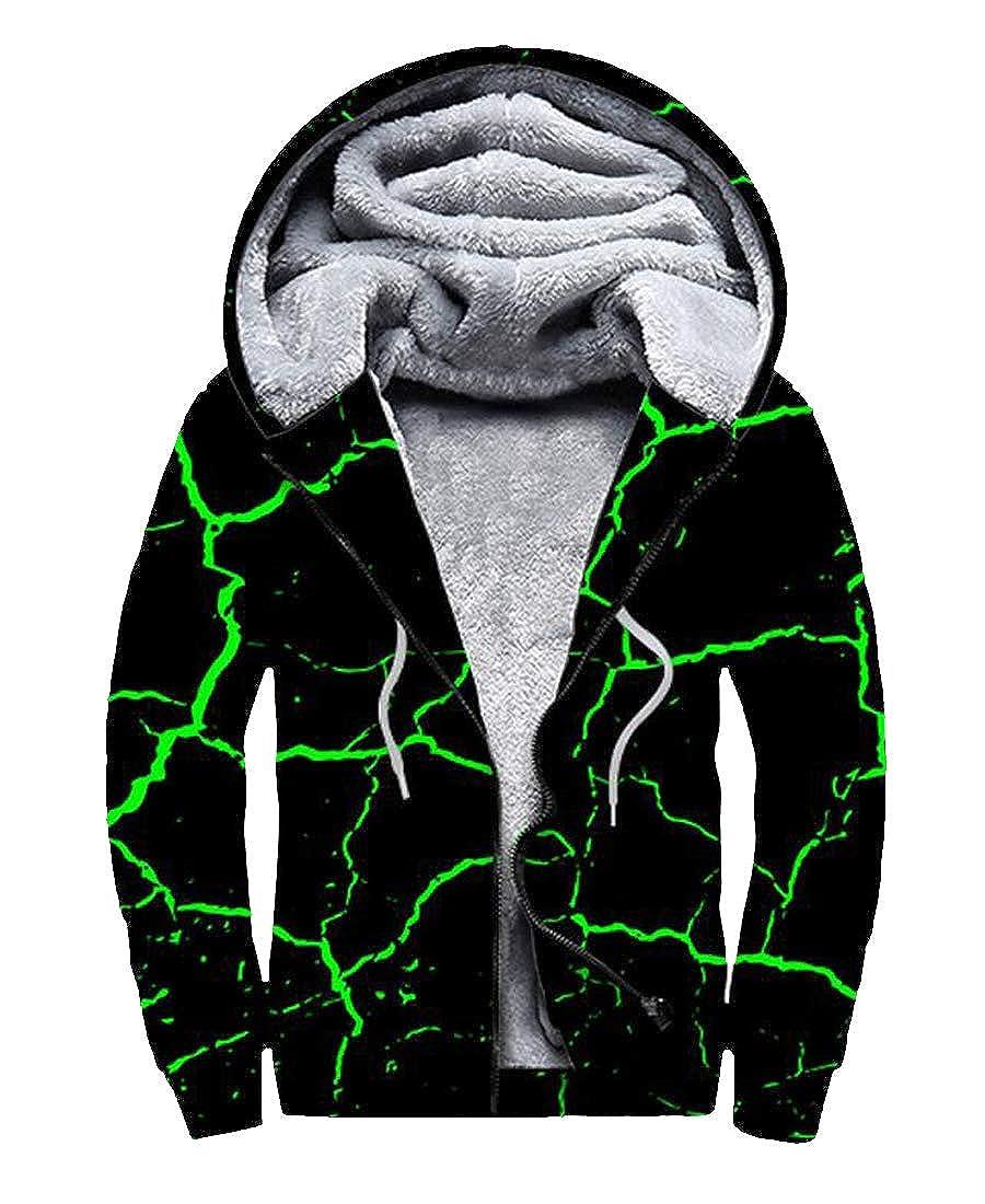 Jotebriyo Mens Relaxed Fit Casual Faux Fur Line Printed Zip Front Hooded Sweatshirt Coat